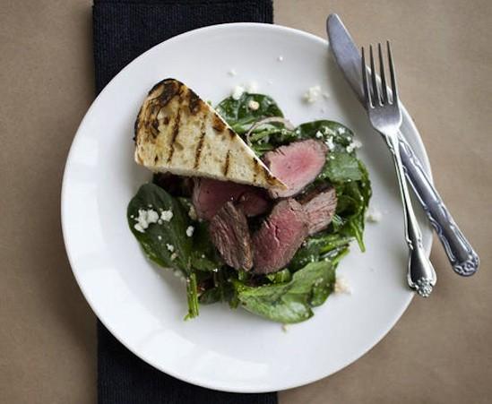Steak and spinach salad at Mathew's Kitchen - JENNIFER SILVERBERG