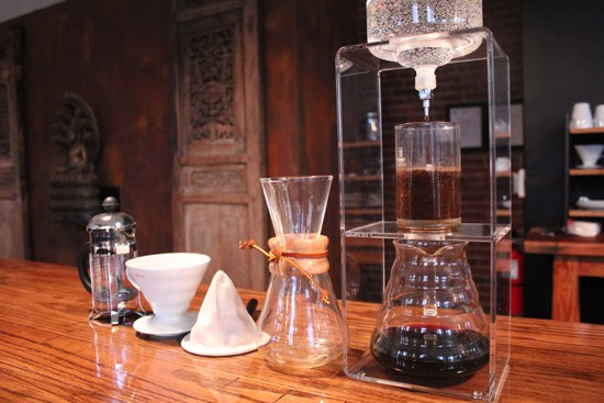 Various coffee brew methods used at Sump Coffee: French press, siphon filter, cloth drip filter, Chemex and Kyoto drip or cold-drip. - MABEL SUEN