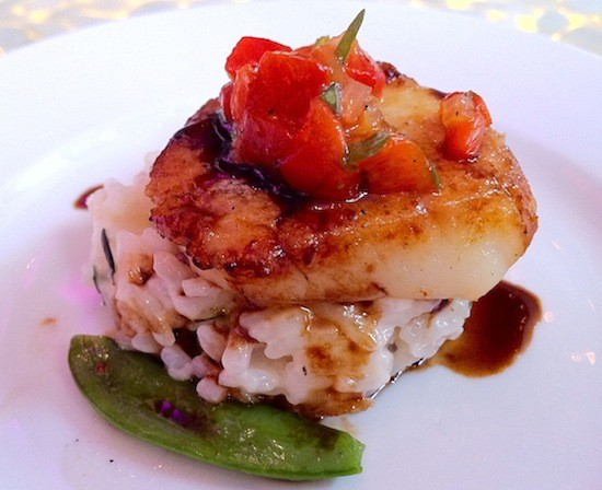 "Featured at Araka's sneak preview: ""Pan-Seared Day Boat Scallops"" (or one of 'em, anyway). - BRYAN PETERS"