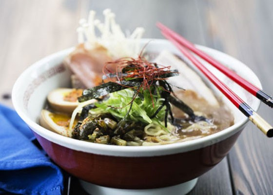 Tonkotsu ramen with pork belly and loin, soft-boiled egg, black garlic oil and mushroom. | Jennifer Silverberg