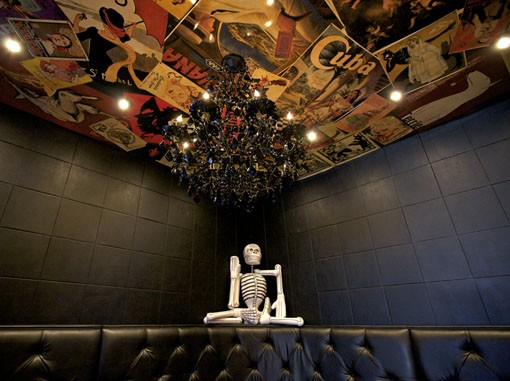 """The very dark Sanctuaria, with some of its walls painted black, has a """"Day of the Dead"""" overtone. View the full slideshow here. - PHOTO: JENNIFER SILVERBERG"""