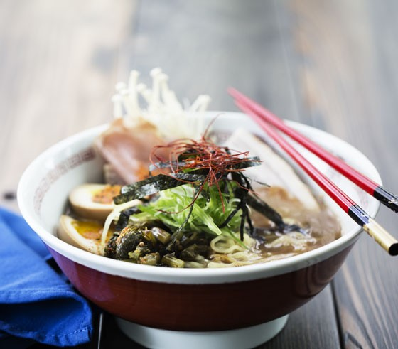 Tonkotsu ramen with pork belly and loin, soft boiled egg, black garlic oil and mushroom. | Jennifer Silverberg