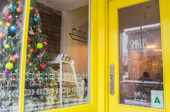 Smalls' itty-bitty storefront, decked out for the holidays.