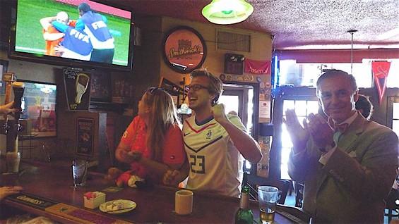 The Dutch fans went wild at Barrister's when their team beat Brazil - PHOTOS BY KEEGAN HAMILTON