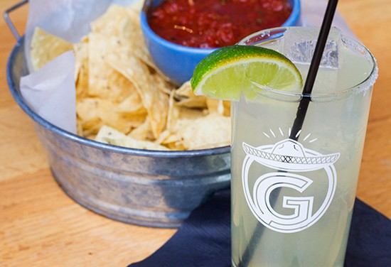 "A ""Gringo Margarita"" with complimentary chips and salsa. 