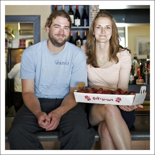 Kevin Willmann, owner and chef of Farmhaus, pictured here with fiancée and front-of-house manager, Jessica Hanzlick, is, we're pretty certain, Food & Wine magazine's 2011 Best New Chef - Midwest - JENNIFER SILVERBERG