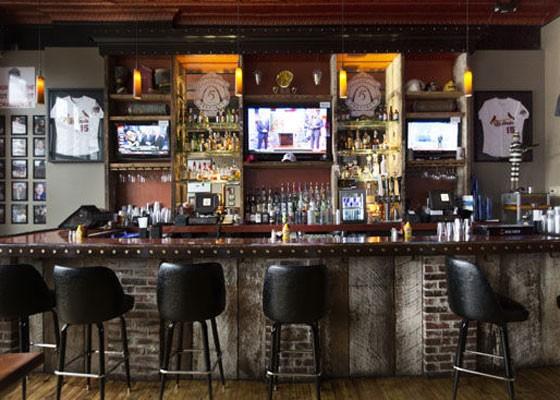 The bar at the Precinct, with Cards memorabilia. | Nancy Stiles