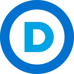 "The new democratic party logo: The letter ""D"" inside a circle. Yes, that's what she said. - IMAGE VIA"