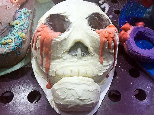 The chocolate skull, made from yellow cake and strawberry ice cream, makes us wonder if death is really sweet? - PHOTO: STEW SMITH