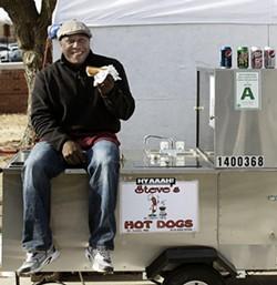 Steve Ewing and his hot dog cart. - JENNIFER SILVERBERG