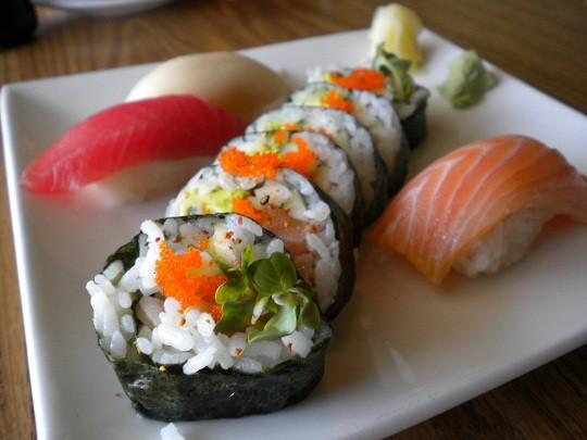 The Spicy Salmon Roll with Chef's Choice Nigiri at Thai Nivas. - DEBORAH HYLAND