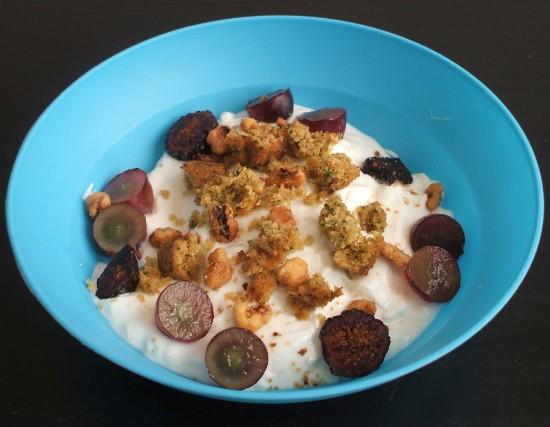 Breakfast: Greek yogurt, grapes, dried figs, walnuts and falafel. - KRISTEN KLEMPERT