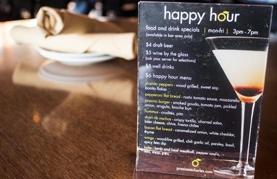The happy-hour menu.