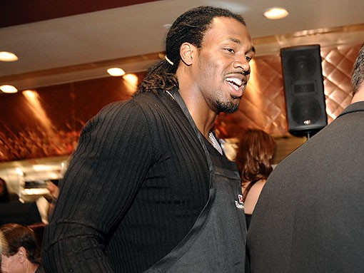 As Rams fans have always suspected, running back Steven Jackson is a real cut-up in the workplace. See more photos from last night. - PHOTO: EGAN O'KEEFE