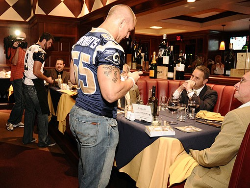 Hey Brett Favre, take your Hoosier-ass Wranglers and keep 'em. James Laurinaitis will rock some 7 For All Mankind jeans, thank you. See more photos from last night. - PHOTO: EGAN O'KEEFE