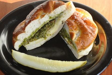 Pesto pretzel sandwich at Provalo Deli | Tara Mahadevan