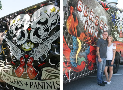 Josh and Tara pose with their body-art-inspired burger truck. - CHRISSY WILMES