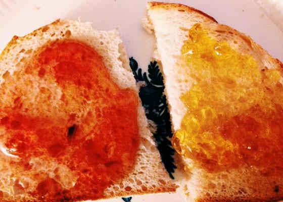 The jellies on sourdough toast. | Nancy Stiles