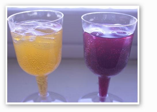 The Mang-O-Rita, left, and Raz-Ber-Rita, right. Aren't our glasses fancy?   Nancy Stiles