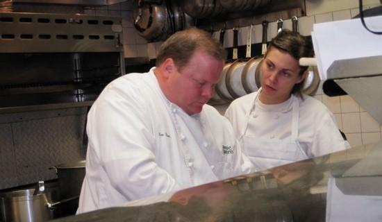 Chef Lou Rook III in the Annie Gunn's kitchen with Samantha Beard. - ROBIN WHEELER