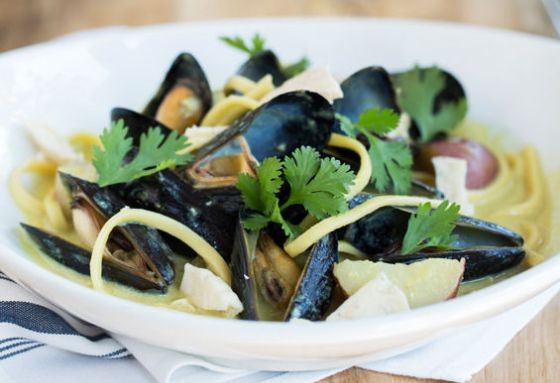 The Libertine's mussels with lo mein noodles, squid cracklins and coconut milk laksa. | Jennifer Silverberg
