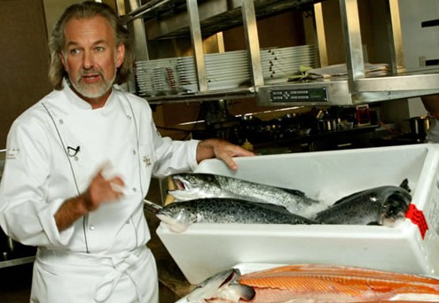 """These are salmon. They have scales instead of hair. I am Hubert Keller. I have salmon and I have hair."" - MARJORIE POORE PRODUCTIONS"
