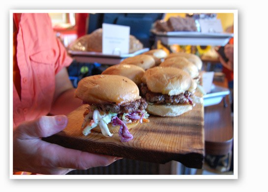 Hand-packed sliders at The Dam's soft opening. | Nancy Stiles