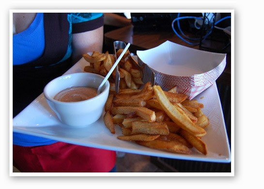 Peeled and hand-cut Belgian-style fries with homemade chili mayo. | Nancy Stiles