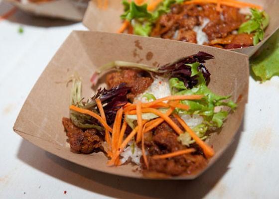 Gogi bowl spicy pork from Seoul Taco at Iron Fork 2013. | Jon Gitchoff