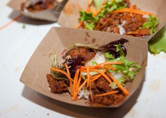 Gogi bowl spicy pork from the Seoul Taco at Iron Fork 2013. | Jon Gitchoff