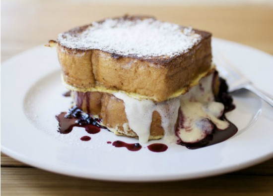Blackberry French toast made with mascarpone and brioche at Half & Half. - JENNIFER SILVERBERG
