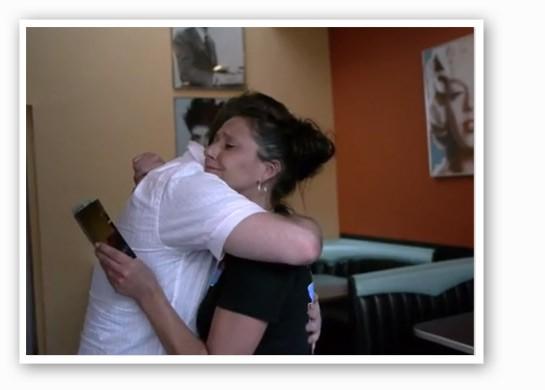Seth Collins surprised Laurie Radake at City Diner.   Aaron's Last Wish