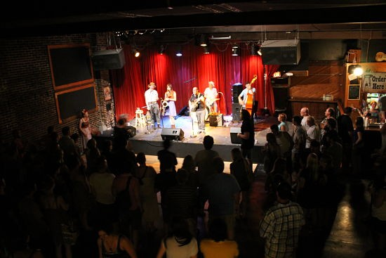 Rum Drum Ramblers on stage from the Off Broadway balcony. - CASSIE KOHLER