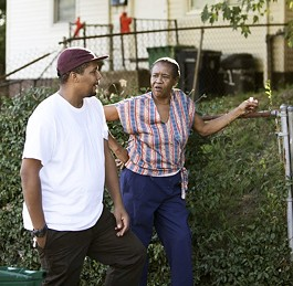 Black Spade reminisces with Lillie Mischer, a former neighbor in Pine Lawn, his old 'hood. - PHOTO BY JENNIFER SILVERBERG