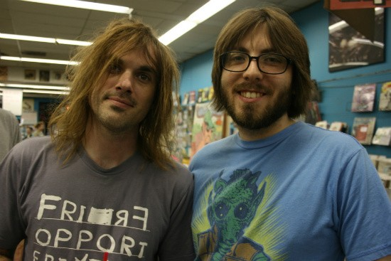 Kliph Scurlock (left) of the Flaming Lips was also hanging out in the loop and in Vintage Vinyl throughout the day, but wasn't signing with Coyne - CHRISSY WILMES