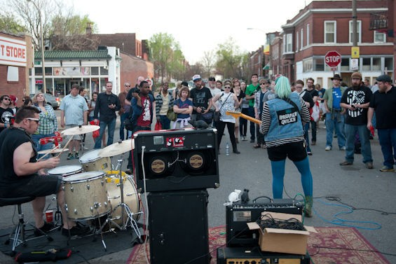 Bruiser Queen performing outside of Apop Records. - JON GITCHOFF