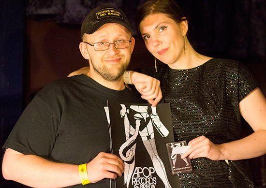 Local artist Chad Hickman with Apop Records' owner Tiffany Minx.