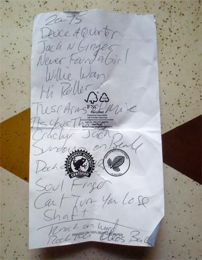 The Bo-Keys' setlist