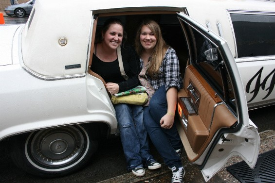 Amanda Dale and Jennifer Ellis (left to right) drove four hours to hear the new Foo Fighters record and see the limo. - CHRISSY WILMES