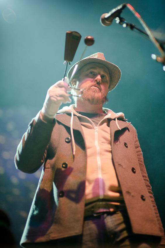 John McCrea, wielding a fierce vibraslap - TODD OWYOUNG