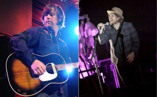 If nothing else, Jay Farrar (left) and Jeff Tweedy (right) agree on Woody Guthrie. - PHOTOS BY JASON STOFF