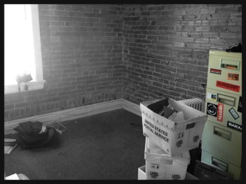 An office upstairs mid-move - JAIME LEES