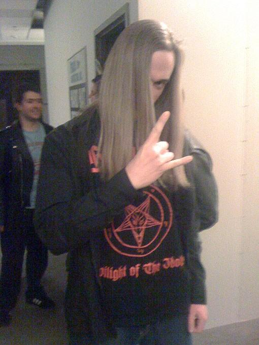 Metal fan Cole Sandel of Clayton, Missouri.