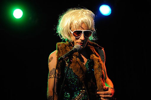 Deer Tick singer John McCauley -- in drag while introducing Those Darlins last night at Off Broadway. See more photos from last night's show. - PHOTO: TODD OWYOUNG