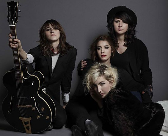 LA's Warpaint play tonight at the Luminary Center for the Arts. From left, Theresa Wayman, Jenny Lee Lindberg, Stella Mogzawa, Emily Kokal(front).