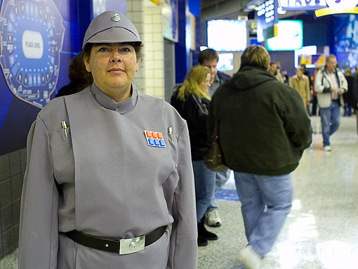 Christina with the 501st Stormtrooper brigade. See more photos from last night. - PHOTO: STEW SMITH