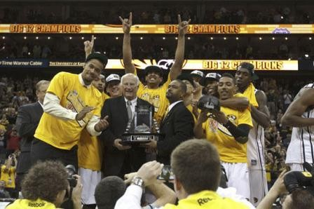 """Despite being the subject of an atrocious """"anthem"""" song, Mizzou managed to snag the Big 12 tournament title. - JEFF MOFFETT/ICON SMI AAH"""