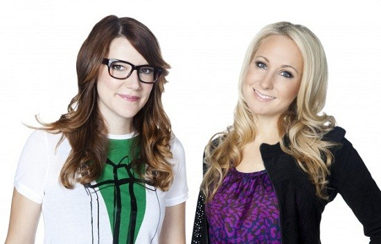 "Sara Schaefer and Nikki Glaser (on right), hosts of ""Nikki & Sara Live"""