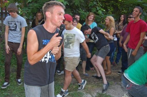 During Sweet Tooth's set, in the yard behind Binge & Purge.
