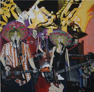 Bunnygrunt at CBGB, painting by Dana Smith